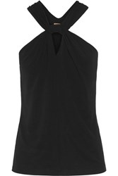 Michael Kors Collection Twist Front Stretch Jersey Top Black