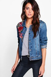 Boohoo Denim Floral Embroidered Jacket Blue