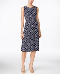 Charter Club Petite Printed Fit And Flare Belted Dress Only At Macy's Intrepid Blue Combo