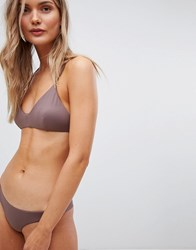 Rvca Solid Cross Back Bikini Top Brown