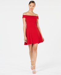 Teeze Me Juniors' Off The Shoulder Party Dress Red