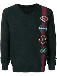 Frankie Morello Patch Embellished Sweater Green