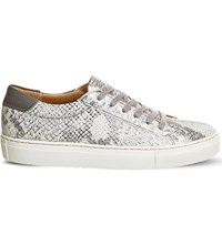 Office Axel Python Print Leather Trainers Grey Snake Leather