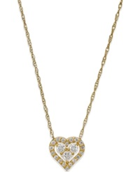 Macy's Cubic Zirconia Heart Pendant Necklace In 10K Gold