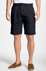 Men's Big And Tall Cutter And Buck Double Pleated Microfiber Twill Shorts Navy Blue