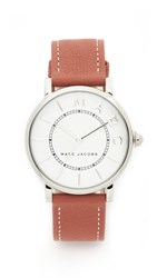 Marc Jacobs Roxy Leather Watch Sterling Silver White Tan