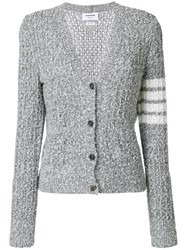 Thom Browne Wool Blend V Neck Cardigan Grey