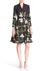 Women's Ted Baker London 'Giova' Floral Print Fit And Flare Coat Black