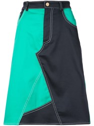 Harvey Faircloth Colour Block Flared Skirt Blue