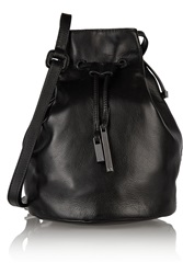 Halston Leather Bucket Bag Black