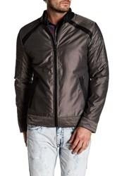 X Ray Nylon Topstitched Faux Leather Trim Jacket Gray