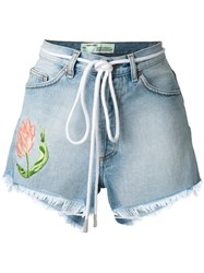 Off White Embroidered Flower Shorts Blue
