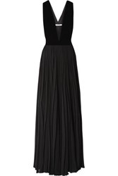 Givenchy Velvet And Pleated Silk Georgette Gown Black