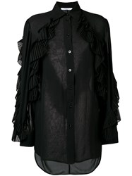 Givenchy Ruffled Style Transparent Blouse Black