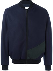 Msgm Colour Block Bomber Jacket Blue
