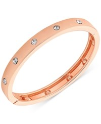 Guess Rose Gold Tone Hinge Bracelet With Clear Stones