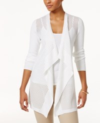 Jm Collection Petite Shadow Striped Draped Cardigan Only At Macy's Bright White