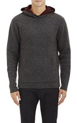 Barneys New York Double Faced Knit Hoodie Black