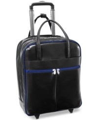 Mcklein Volo 15 Wheeled Leather Carry On Black Navy Trim