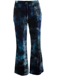 Raquel Allegra Cropped Velvet Trousers Blue