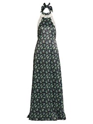 House Of Holland Halterneck Lace Trimmed Floral Print Satin Dress Navy Print