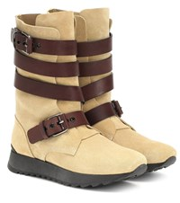 Loewe Suede And Leather Boots Beige