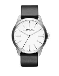 Marc By Marc Jacobs Mbm5090 Stainless Steel Black Leather Strap Watch