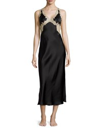 Josie Natori Lorena Lace Trim Open Back Nightgown Black Tan
