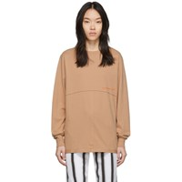 Eckhaus Latta Orange Lapped Long Sleeve T Shirt