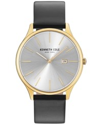 Kenneth Cole Men's Black Leather Strap Watch 42Mm Kc15096001 Gold