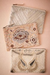 Anthropologie Santal Beaded Pouch Silver