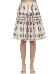 Tory Burch Printed Cotton Voile Plisse Midi Skirt Cream