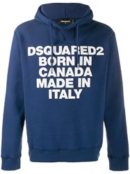 Dsquared2 Motto Print Hoodie Blue
