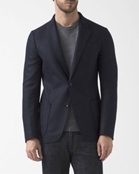 Armani Collezioni Destructured Navy Blue Wool Jacket With Chest Pocket