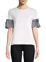 August Silk Gingham Ruffle Trim Tee White