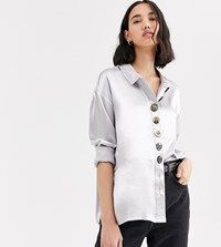 Native Youth Exclusive Relaxed Shirt In Shimmer Fabric Silver