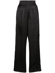 Misa Los Angeles Satin High Waisted Trousers Black