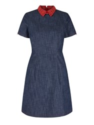 Yumi By Lilah Embroidered Collar Denim Dress Blue