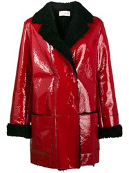 Christopher Kane Patent Leather Coat With Shearling Lining Patent Leather Red