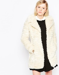 Brave Soul Longline Faux Fur Coat Cream