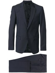Versace Slim Fit Suit Cotton Polyester Cupro Virgin Wool Blue