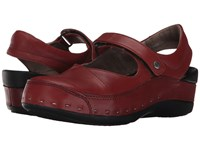 Wolky Strap Cloggy Terracotta Vegi Leather Clog Shoes Red