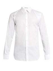 Alexander Mcqueen Harness Leopard Jacquard Long Sleeved Shirt White