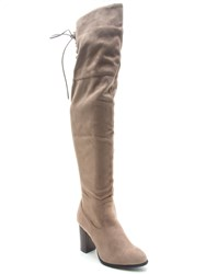 Qupid Zinc Over The Knee Boot Charcoal