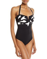 Shan Farwest Printed Bandeau One Piece Swimsuit Black