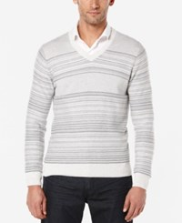 Perry Ellis Jacquard V Neck Sweater Oatmeal Heather