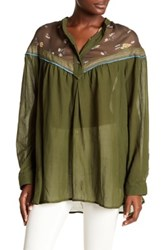 Free People Hearts And Colors Long Sleeve Shirt Green