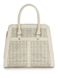 Saks Fifth Avenue Black Honeycomb Laser Cut Leather Satchel White