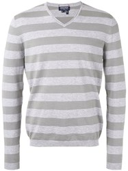 Woolrich Striped Knitted Sweater Men Cotton M Grey