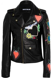 House Of Holland Appliqued Leather Biker Jacket Black
